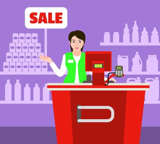 Verkoop kassier markt concept