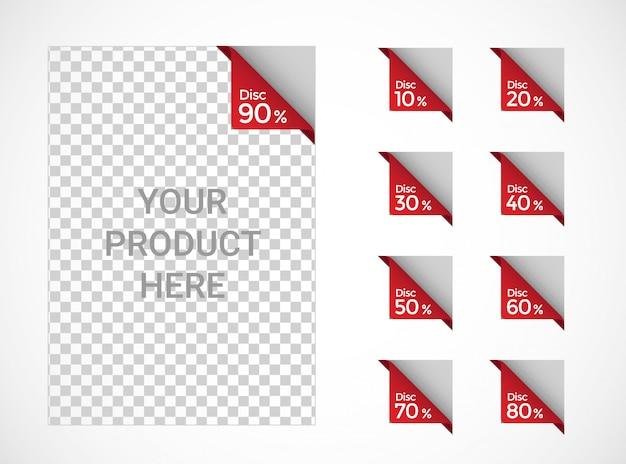 Verkoop korting etiketten prijs af, label, sticker platte ontwerpset