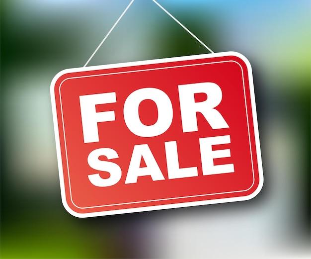 Verkoop label. huis te koop teken voor marketing design. vector voorraad illustratie.