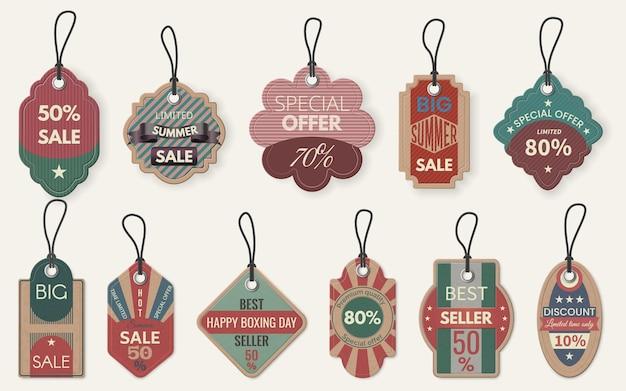 Verkoop label label. kortingsprijs winkelen etiketten, retail kartonnen kaart met touw, speciale deal hangende tags, realistische vector sjabloon. fijne tweede kerstdag, bestseller. grote zomeruitverkoop, premium kwaliteit