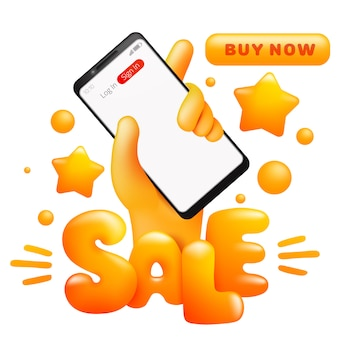 Verkoop met cartoon gele hand met slimme telefoon. online winkelen. koop nu knop.