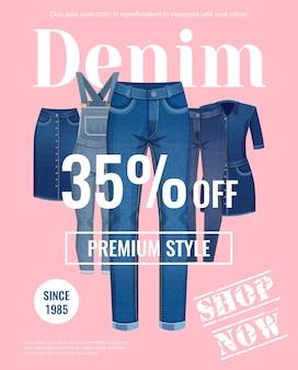 Verkoop met korting van reclameposter voor denimkleding op lichtroze vlakke afbeelding