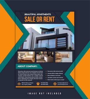 Verkoop of huur vastgoed flyer zakelijk appartement flyer onroerend goed bedrijf jaarverslag poster