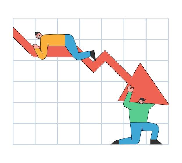 Verkoop omlaag en faillissementsconcept