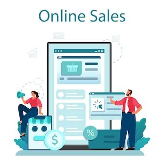 Verkoop online service of platform. bedrijfsplanning en ontwikkeling. verkoopbevordering en stimulering voor commerciële winst. online verkoop.