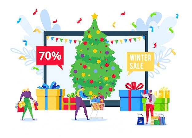 Verkoop online winkelen met kortingsgeschenken voor mensen in de wintervakantie