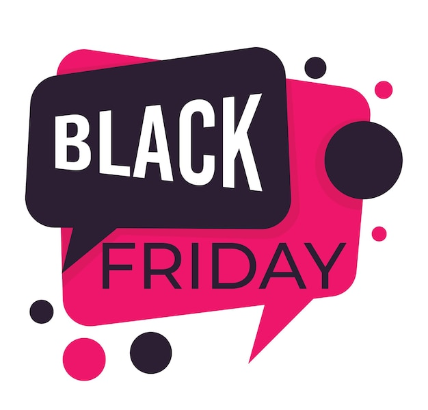Verkoop op zwarte vrijdag, geïsoleerde banner in de vorm van een dialoogvenster. chatbelpictogrammen, prijsverlaging en reclame voor producten. voorstel van winkels en winkels, marketing en zakelijke vector