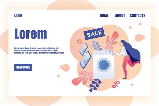 Verkoop pagina ontwerpsjabloon voor huishoudelijke apparaten winkel