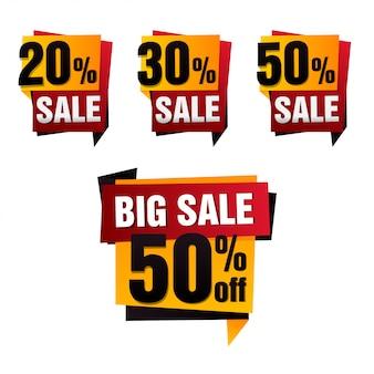 Verkoop papieren banner. verkoop achtergrond. grote uitverkoop. verkoop tag set. verkoop poster. speciale aanbieding