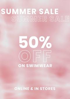 Verkoop poster sjabloon, vector water achtergrond, zomer verkoop 50% korting op tekst