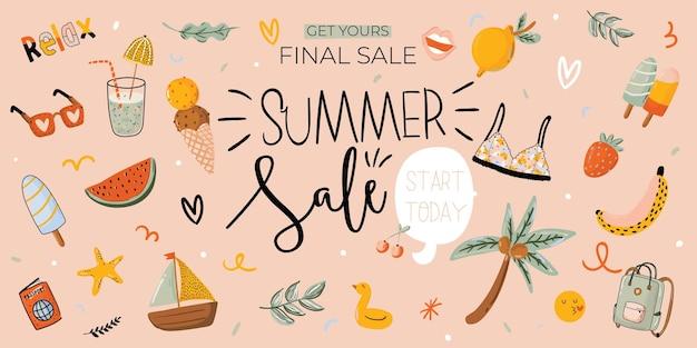 Verkoop print met mooie zomerse achtergrond en trendy belettering. goede sjabloon voor web, kaart, poster, sticker, banner, uitnodiging, flyers.