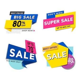 Verkoop promotie advertenties vector set