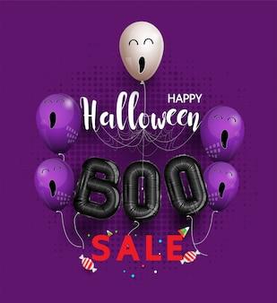 Verkoop promotie banner met snoep en halloween spookballonnen