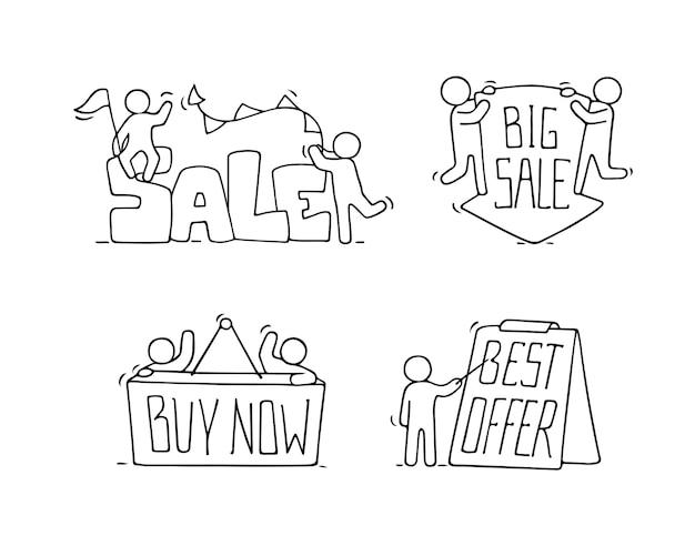 Verkoop set met werkende kleine mensen. doodle schattige miniatuurscènes van arbeiders met kortingsbanners. hand getekende cartoon voor zakelijke en marketingontwerp.