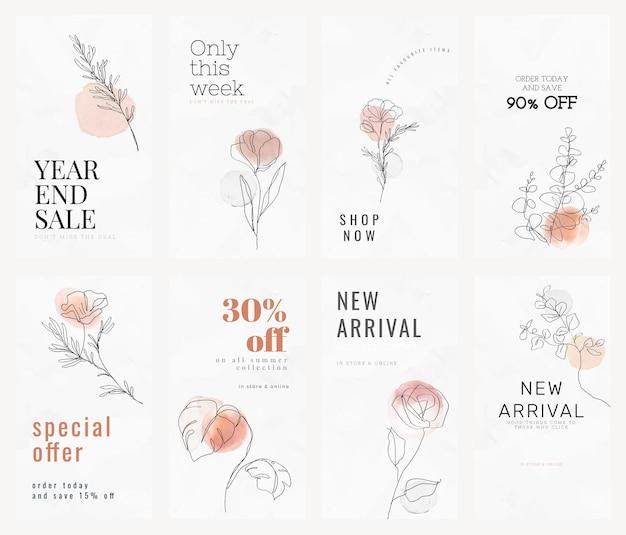 Verkoop sjablonen vector voor online winkelen zakelijke lijn kunst vrouwelijk design advertentiecollectie