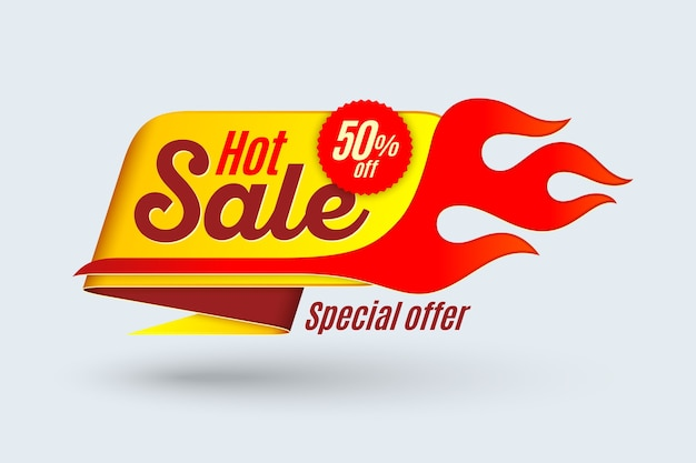 Verkoop sjabloonontwerp spandoek met vlam. hot koop bord.