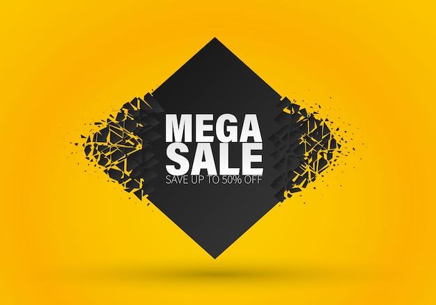 Verkoop sjabloonontwerp spandoek, speciale aanbieding grote verkoop. einde seizoen speciale aanbieding banner. banner met explosie-effect.