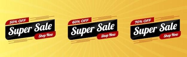 Verkoop speciale aanbieding en prijskaartjes ontwerp premium vector