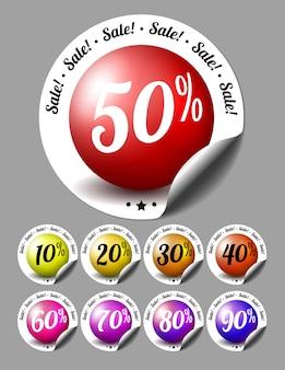 Verkoop stickers met procenten