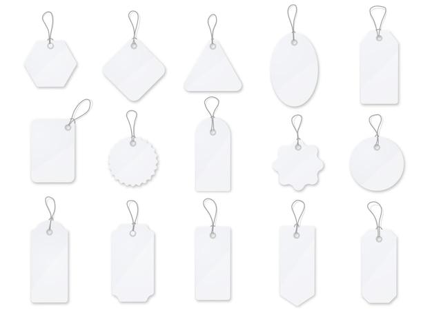 Verkoop tag en etiketten vector set. wit glanzend prijskaartje