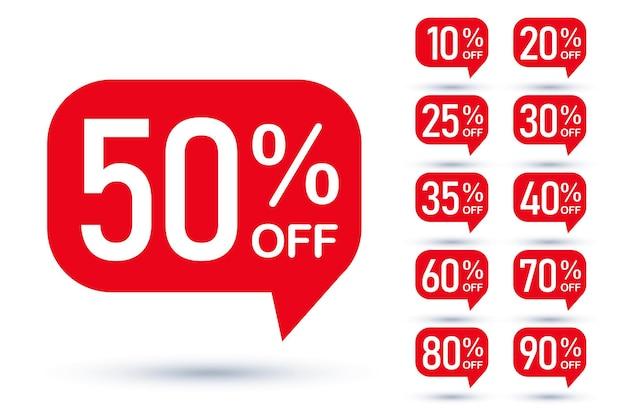 Verkoop tag tekstballon rode vorm met verschillende kortingsset. 10, 20, 25, 30, 35, 40, 50, 60, 70, 80 en 90 procent prijs opruiming sticker badge banner label vectorillustratie geïsoleerd op wit
