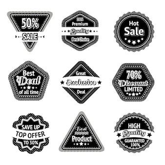 Verkoop tags en stickers instellen voor de beste prijs van hoge kwaliteit en exclusieve deal geïsoleerd