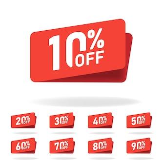 Verkoop tags instellen vector badges sjabloon, 10 korting, 20, 30, 40, 50, 60, 70, 80, 90 procent korting op label symbolen, korting promotie platte pictogram, uitverkoop sticker embleem rode rozet.