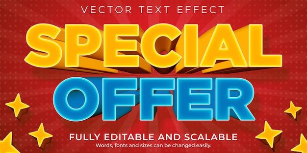 Verkoop teksteffect, bewerkbare korting en aanbieding tekststijl