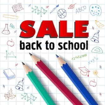 Verkoop, terug naar school letters, potloden en hand tekeningen