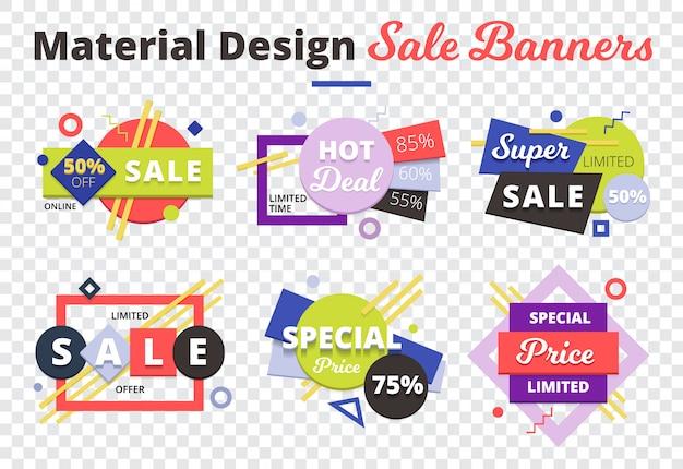Verkoop transparante pictogrammenset met materiële ontwerp verkoop banners beschrijving op de top