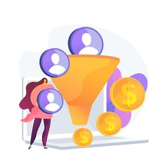 Verkoop trechter. leadgeneratie, klantenbeheer, marketingstrategie. commerce conversie plat ontwerpelement. verkoopplan. klanten filteren.