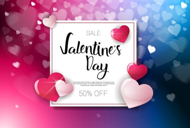 Verkoop valentijnsdag kortingen vakantie winkelen sjabloon voor spandoek met belettering en bokeh harten