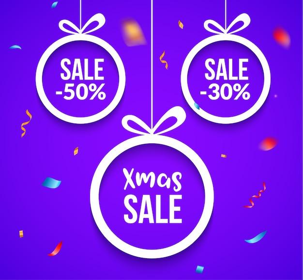 Verkoop van kerstballen. speciale aanbieding