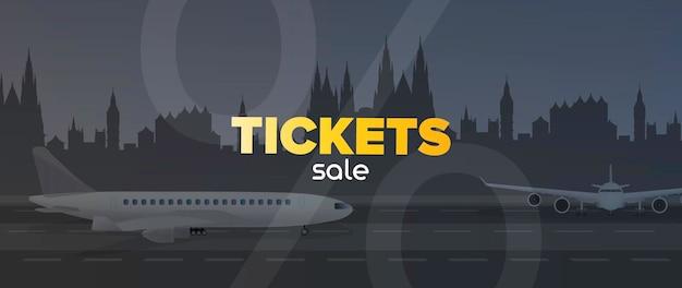 Verkoop van vliegtickets banner