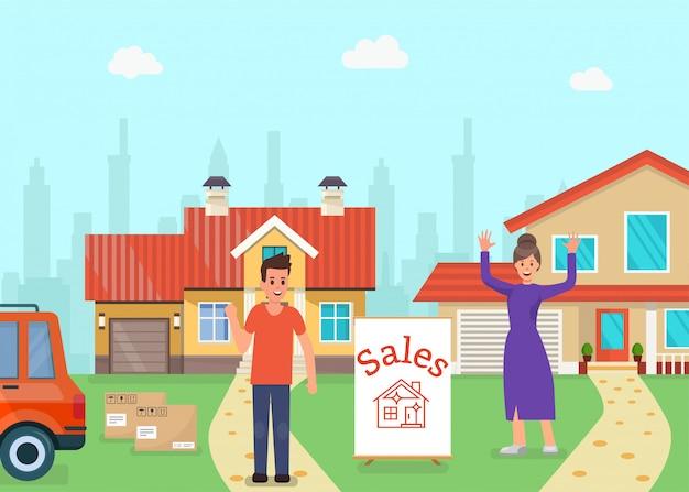 Verkoop voor huizen, verander huis, verplaats naar andere.
