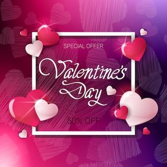 Verkoop voor valentine day holiday flyer kortingen banner concept