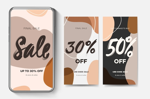 Verkoop webbanners voor mobiele apps voor sociale media. elegante promotie- en kortingspromo-achtergronden met abstract patroon
