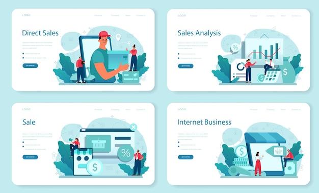 Verkoop weblay-out of bestemmingspagina-set. bedrijfsplanning en ontwikkeling. verkoopbevordering en stimulering voor commerciële winst.