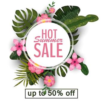 Verkoop zomer banner, poster met palmbladeren, jungle blad en tropische bloemen