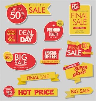 Verkoopbanner en speciale aanbiedingstagsinzameling