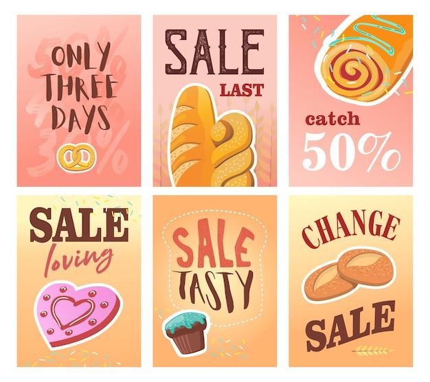 Verkoopbanner ingesteld voor bakkerijwinkel. kleurrijke brochures met koekjes, muffins en brood.