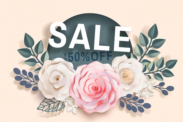 Verkoopbanner met papieren florale decoraties en frames op beige oppervlak in 3d-stijl