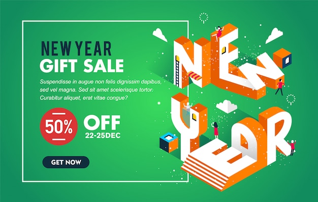 Verkoopbanner of affiche voor nieuwe jaar het winkelen verkoop met moderne ontwerpillustratie van nieuwe jaartypografie met groen