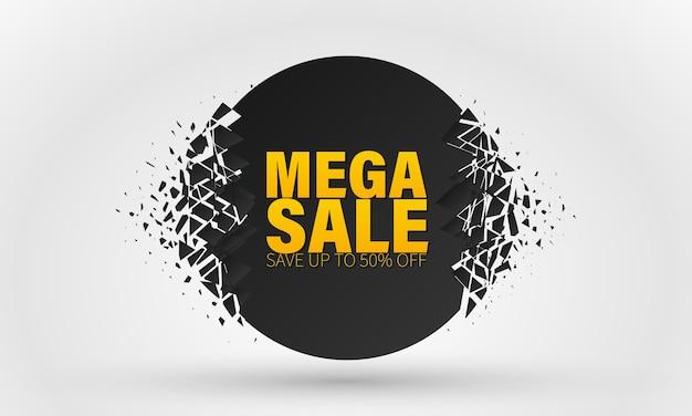 Verkoopbanner, speciale aanbieding voor grote verkoop in een ronde vorm