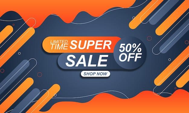 Verkoopbannerachtergrond met oranje en blauwe gradiëntvloeistof en afgeronde vorm vectorillustratie