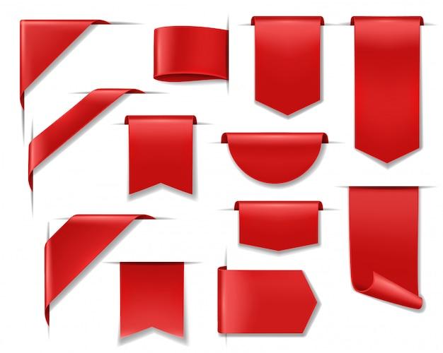 Verkoopbanners, etiketten, lintprijskaartjes en stickers, rode kortingsbadges. verkoopbanners en blanco lintenetiketten, webhoeken voor productpromotie en prijsaanbiedingen in online winkels