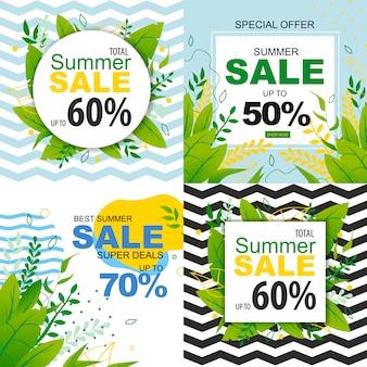 Verkoopbanners set met speciale aanbiedingen voor zomervakantie