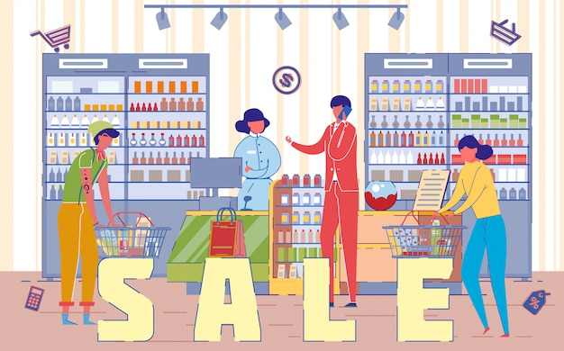 Verkoopdag in winkelcentrum en mensen winkelen