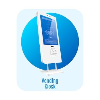 Verkoopkiosk plat concept. zelfbedieningsterminal sticker, clipart. elektronische software met sensorpaneel.