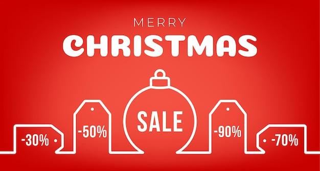 Verkooplabel of kledinglabel versierd met kerstbalsymbool. prettige kerstdagen en gelukkig nieuwjaar verkoop banner. platte kleur lijn pictogram op geïsoleerde rode achtergrond.